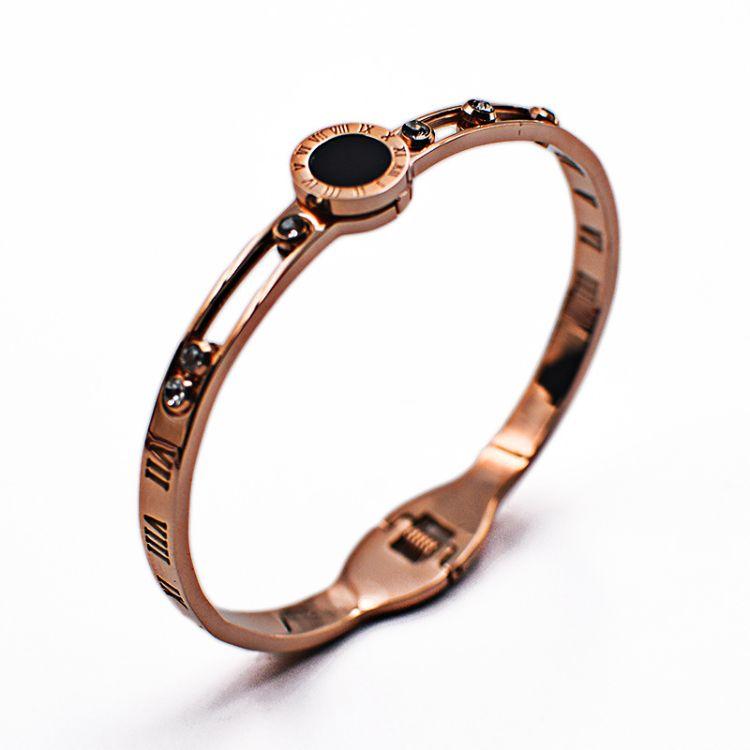 经典爆款镂空罗马数字钛钢手镯六颗滑动钻不锈钢手环外贸饰品批发