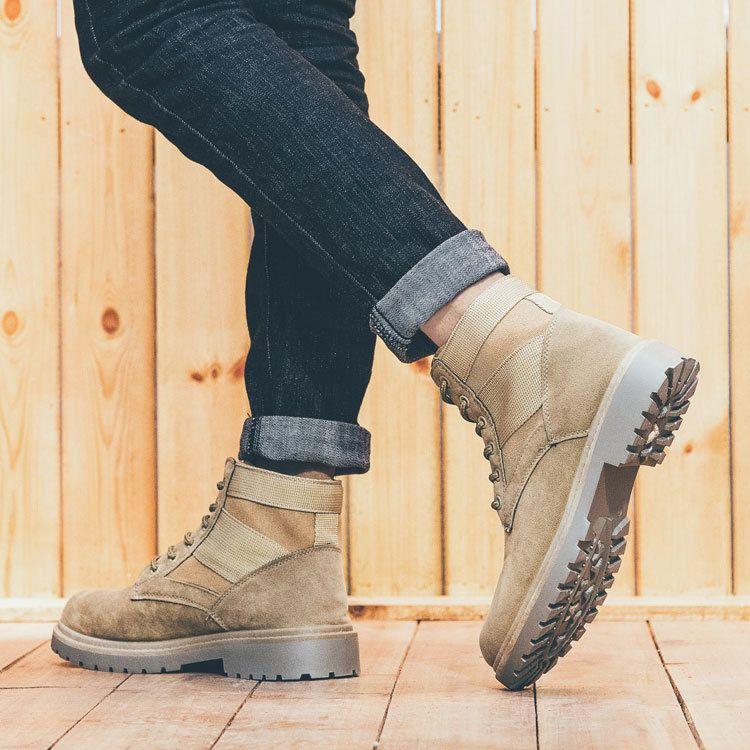 马丁靴男英伦高帮鞋复古沙漠军靴中帮夏季韩版学生工装靴作战靴子