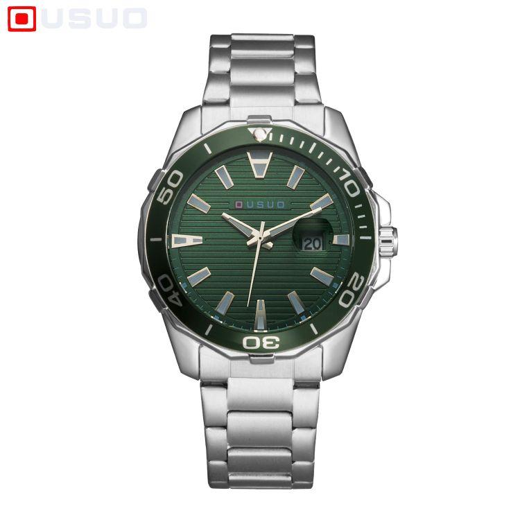 ousuo欧梭男士手表防水夜光日历时尚钢带表盘可旋转石英手表
