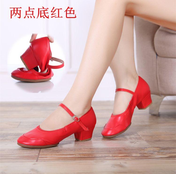 夏季广场舞鞋女式成人软底跳舞女鞋红色两点底舞蹈鞋金银色