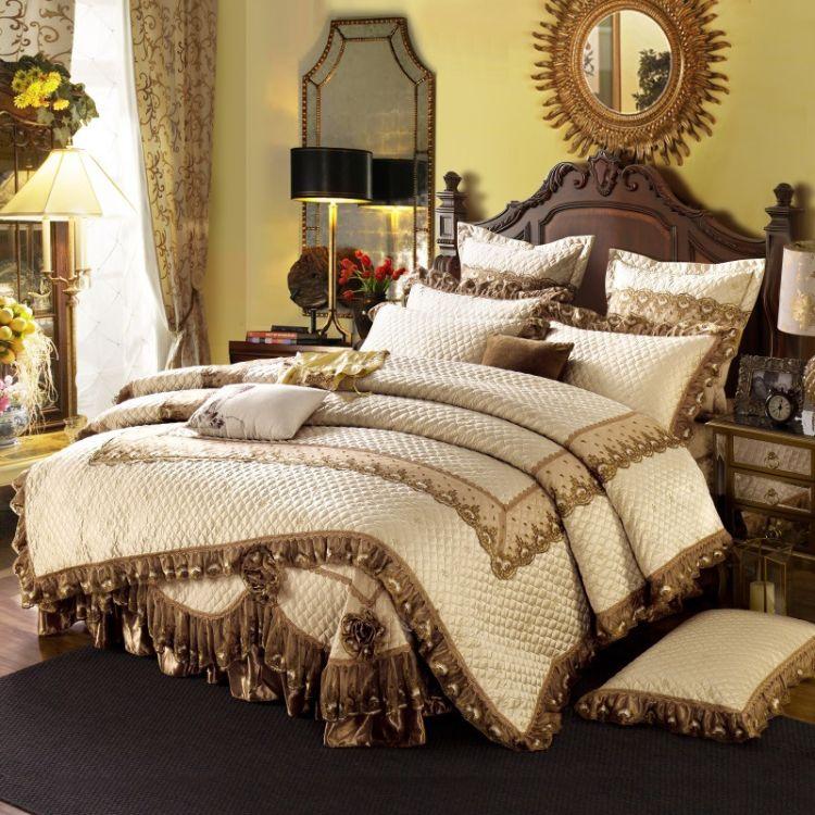 新款样板房 欧式贡缎提花夹棉被套床盖床裙刺绣款四件套床上用品
