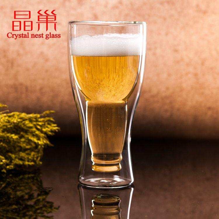 晶巢个性啤酒杯 玻璃杯 双层玻璃杯 啤酒杯 玻璃茶杯水杯厂家直供