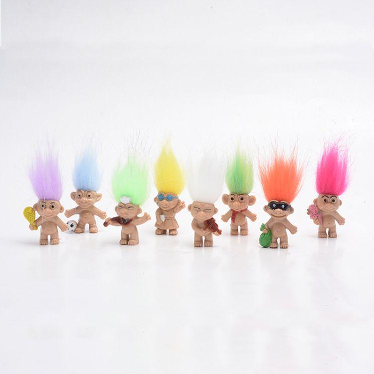 热销Troll doll巨魔娃娃丑娃复古娃娃注塑公仔印第安毛孩8个款式