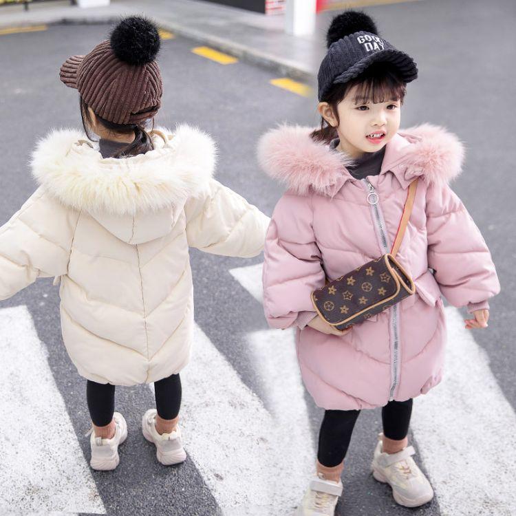 儿童棉衣2018冬季新品韩版加厚女童棉衣宝宝时尚长款毛领棉服