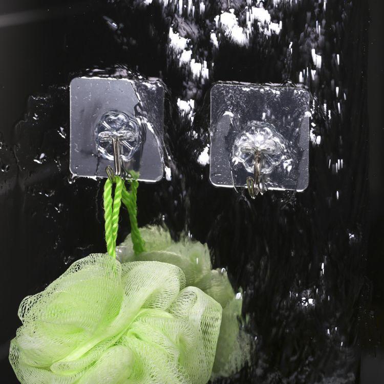 透明无痕金属挂钩墙面强力粘贴挂钩厨房浴室超强承重吸盘衣勾