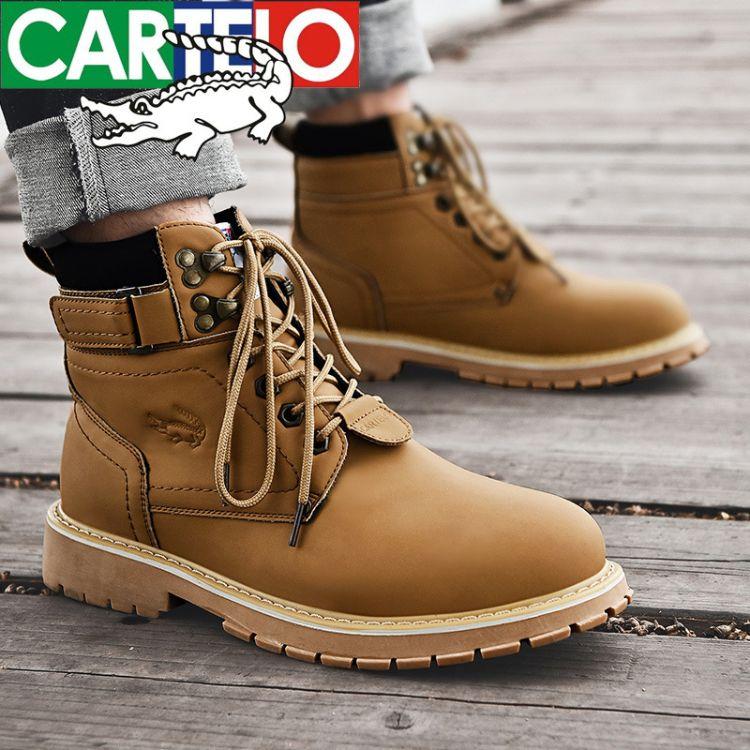 卡帝乐鳄鱼冬季高帮鞋中帮马丁靴男靴子潮百搭英伦风短靴工装军靴