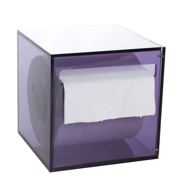 厂家直销亚克力卷纸盒 亚克力纸巾盒定制 防水吸盘厕纸盒紫色透明