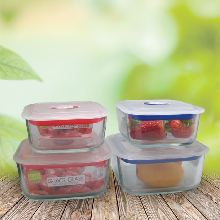 推荐供应高硼硅玻璃饭盒 耐热玻璃保鲜盒 优质密封玻璃保鲜盒