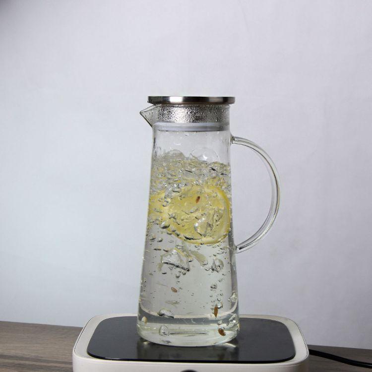 加厚玻璃凉水壶 高硼硅耐热茶壶定做大容量玻璃壶果汁用带盖