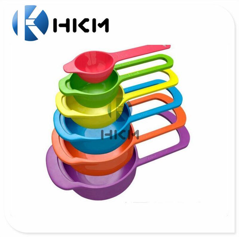 带刻度硅胶量勺六件套 环保食品级糖果色量杯量勺 烘焙量勺量杯