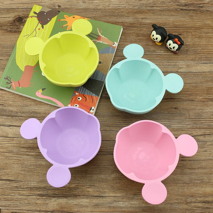 儿童餐具米奇碗小麦杆套装竹纤维防烫碗卡通防滑辅食创意韩式创意