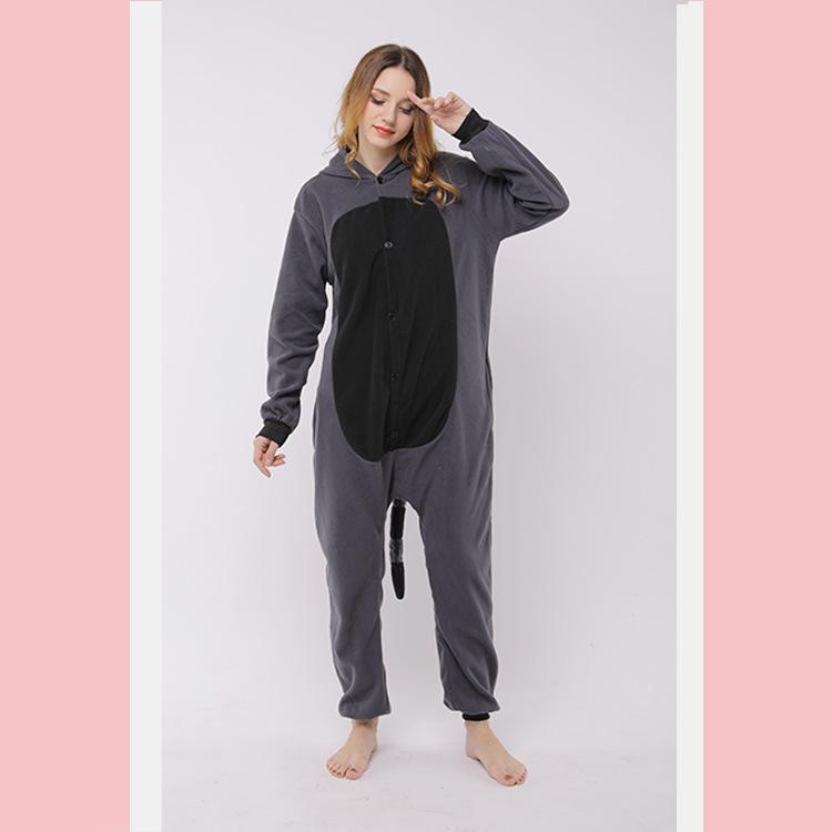 新品出售连体睡衣灰浣熊卡通睡衣家居服连帽长袖睡衣女量大价优