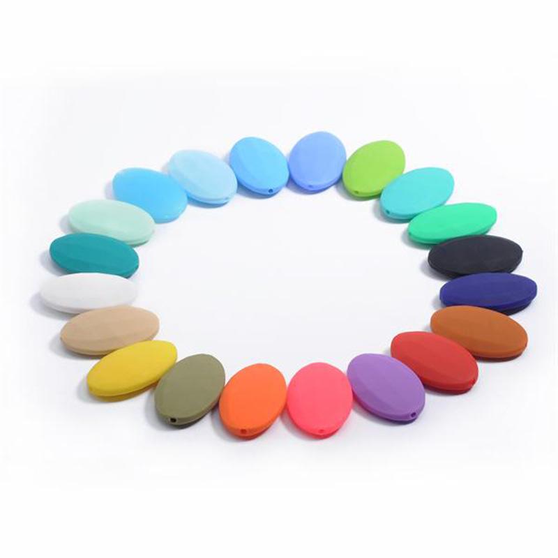 硅胶菱形珠子 硅胶项链饰品配件40MM小扁珠 食品级宝宝磨牙珠子