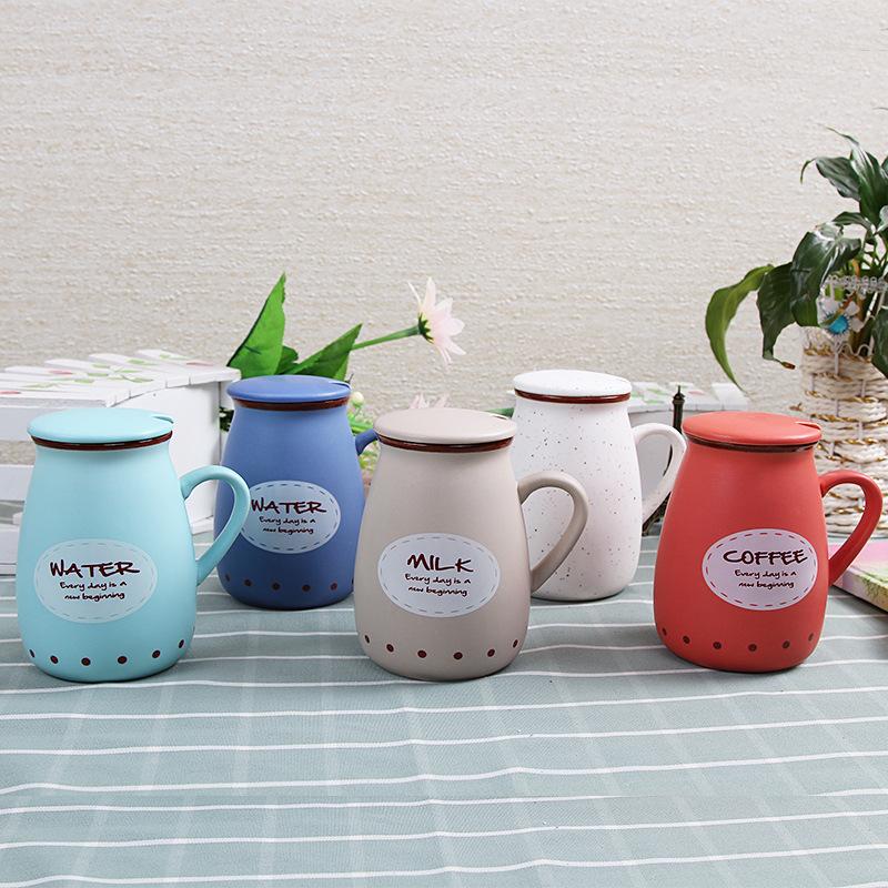 杯子陶瓷牛奶陶瓷杯带盖勺马克杯骨瓷咖啡杯创意情侣水杯定制logo