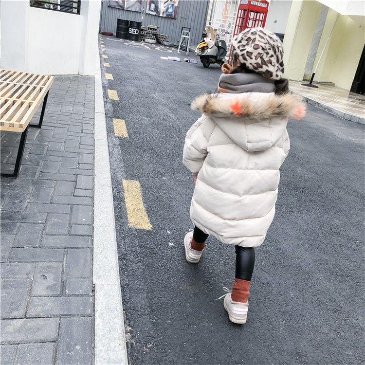 女童棉衣中长款重磅硬货飘色毛领2018冬季韩版新款童装女童棉服潮
