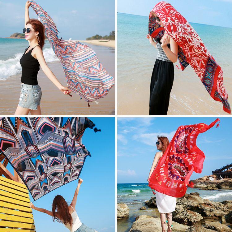 民族風披肩絲巾女春秋防曬紗巾超大棉麻圍巾海邊度假百搭沙灘巾
