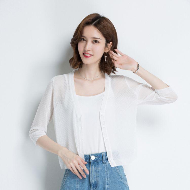 2018夏季新款纯色镂空防晒衣开衫韩版女装薄款透明批发代理针织衫