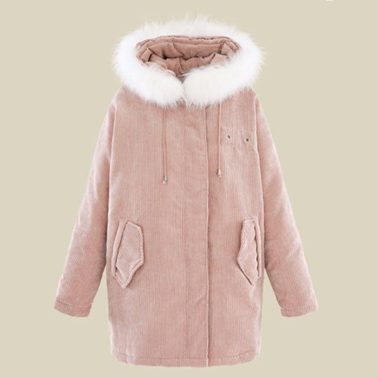 韩版学院风连帽灯芯绒羽绒服纯色气质背系带时尚加厚外套连帽长袖