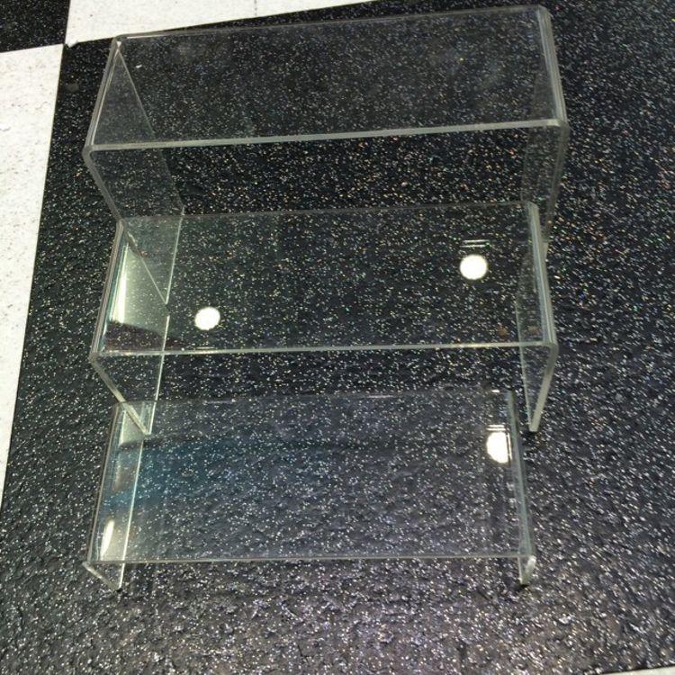 亚克力化妆品梯形展示架透明有机玻璃热弯展示台亚克力热弯U型
