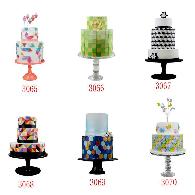 6款可选 3pcs经典几何形状翻糖印花模 饼干模 视觉幻术效果 OPP装