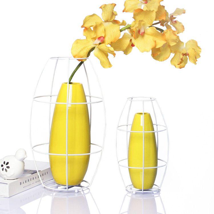 北欧简约家居陶瓷花瓶圆柱形时尚客厅创意艺术摆件百搭铁架花器