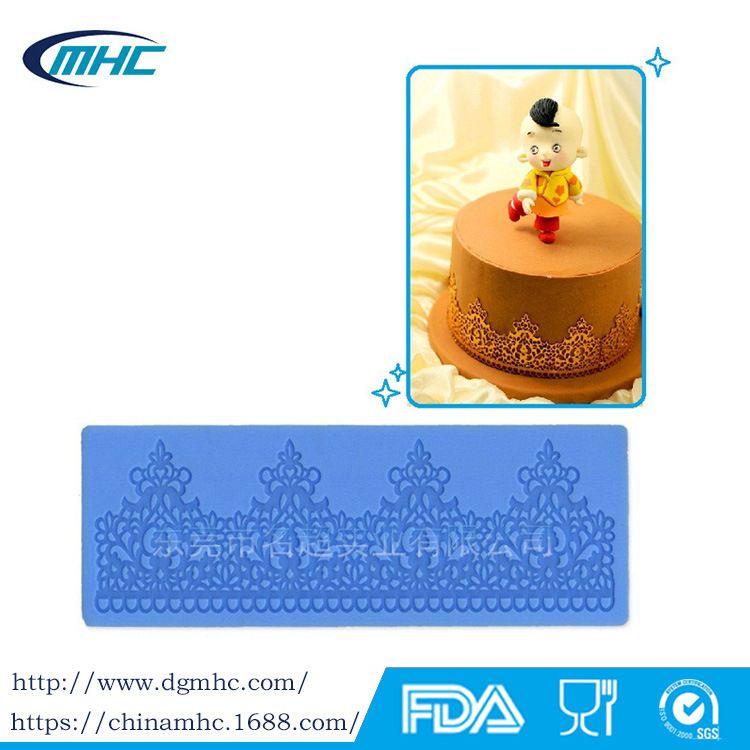 版权蕾丝花纹硅胶模具 翻糖蛋糕印花模 皇冠蕾丝模具