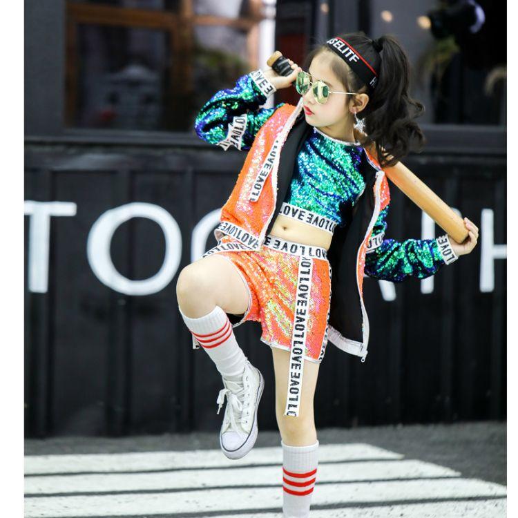 新款 儿童舞蹈服舞台演出亮片演出服爵士舞蹈服亮片街舞服批发