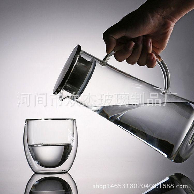 批发玻璃凉水壶 高硼硅耐热茶壶定做大容量玻璃冷水壶果汁壶带盖