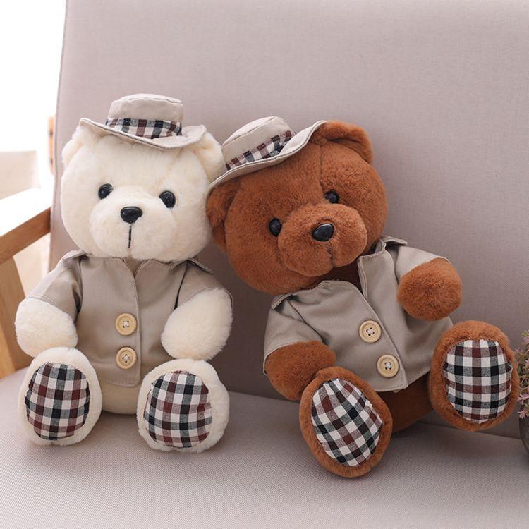 厂家批发坐款泰迪熊毛绒玩具带帽小熊公仔抓机精品一件代发定制
