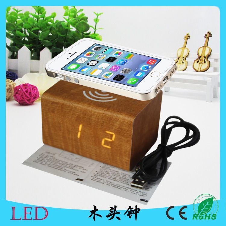 木质工艺充电木头钟 LED多功能电子数码闹钟 静音懒人声控台钟