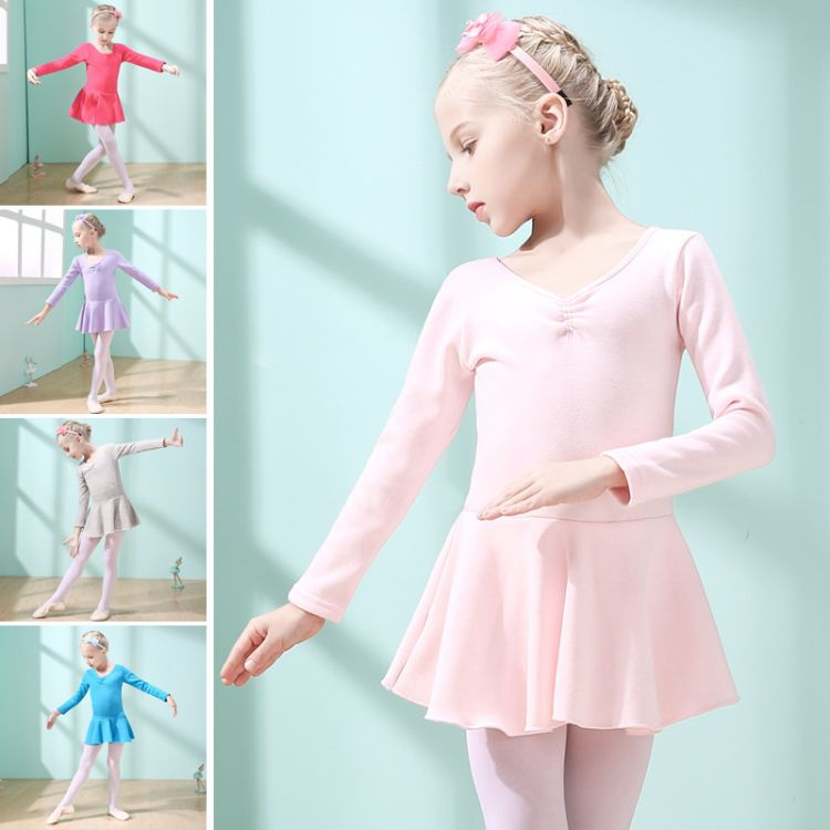 一件代发 加绒加厚儿童舞蹈服装女童拉丁舞练功服冬季长袖舞蹈裙