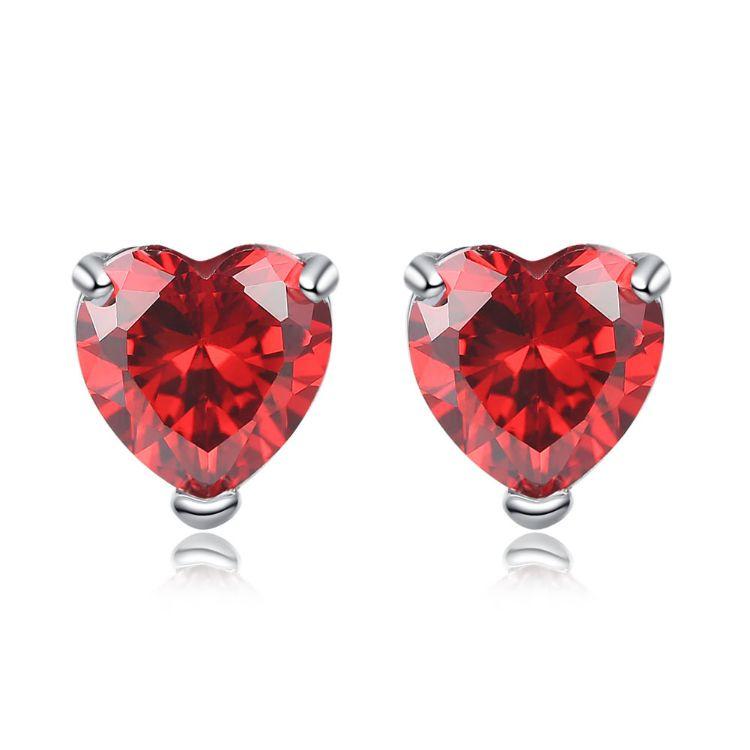 跨境爆品赤诚心耳钉 石榴红水晶锆石时尚耳环女 明星同款礼物饰品