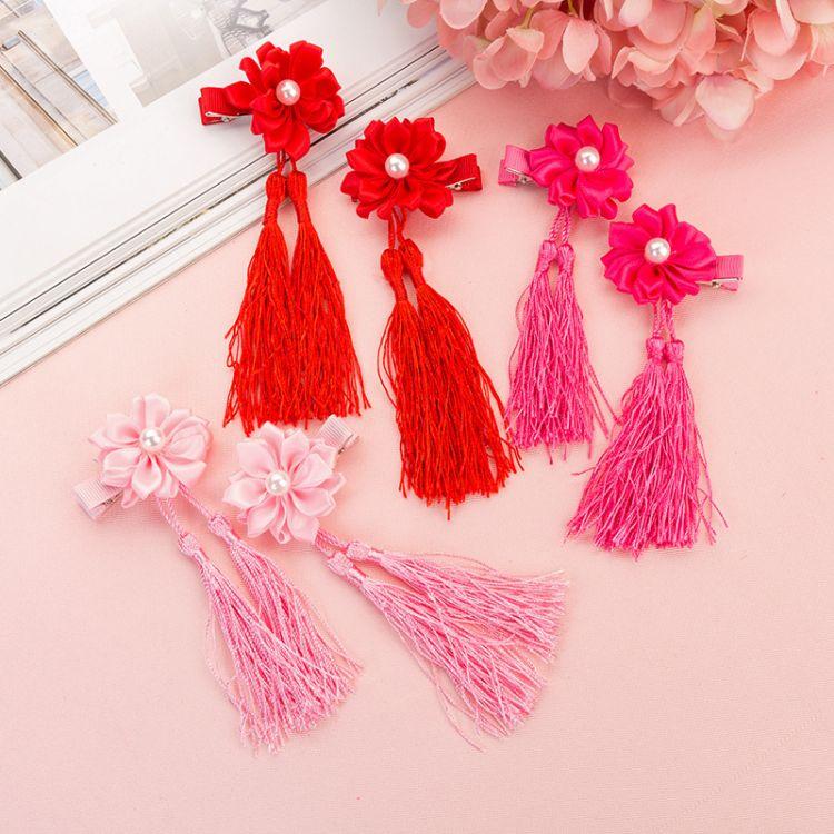 花朵流苏发夹复古中国格格边夹儿童花朵镶钻发饰对夹发夹发卡头饰
