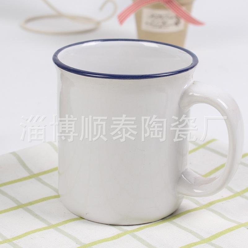 介口沿竖直身小反口搪瓷陶瓷杯创意简约马克杯加厚陶瓷杯厂家定制