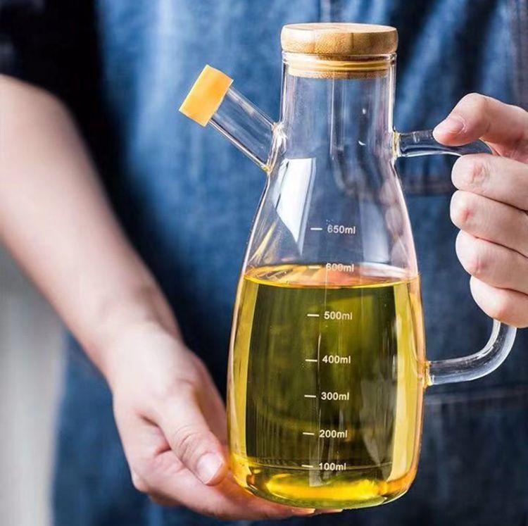 批发家用厨房用品油壶高鹏硅透明防漏酱油瓶 创意竹盖瓶子装油壶