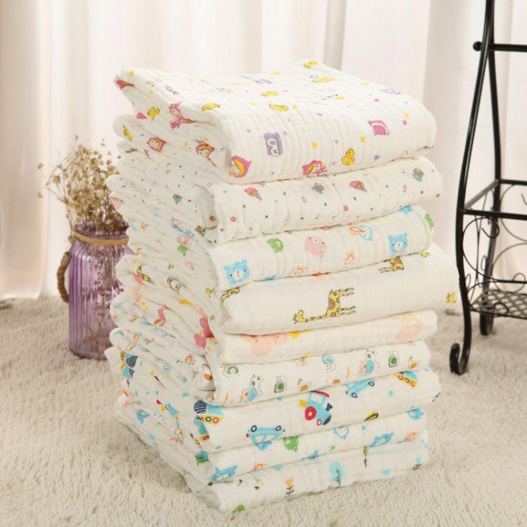 厂家热卖纱布毛巾被 六层高密度儿童包被 纯棉包边婴儿浴巾批发