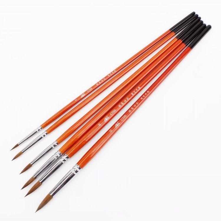 狼毫水彩画笔 厂家直销 水彩颜料画笔水粉笔6支尖头画笔套装批发
