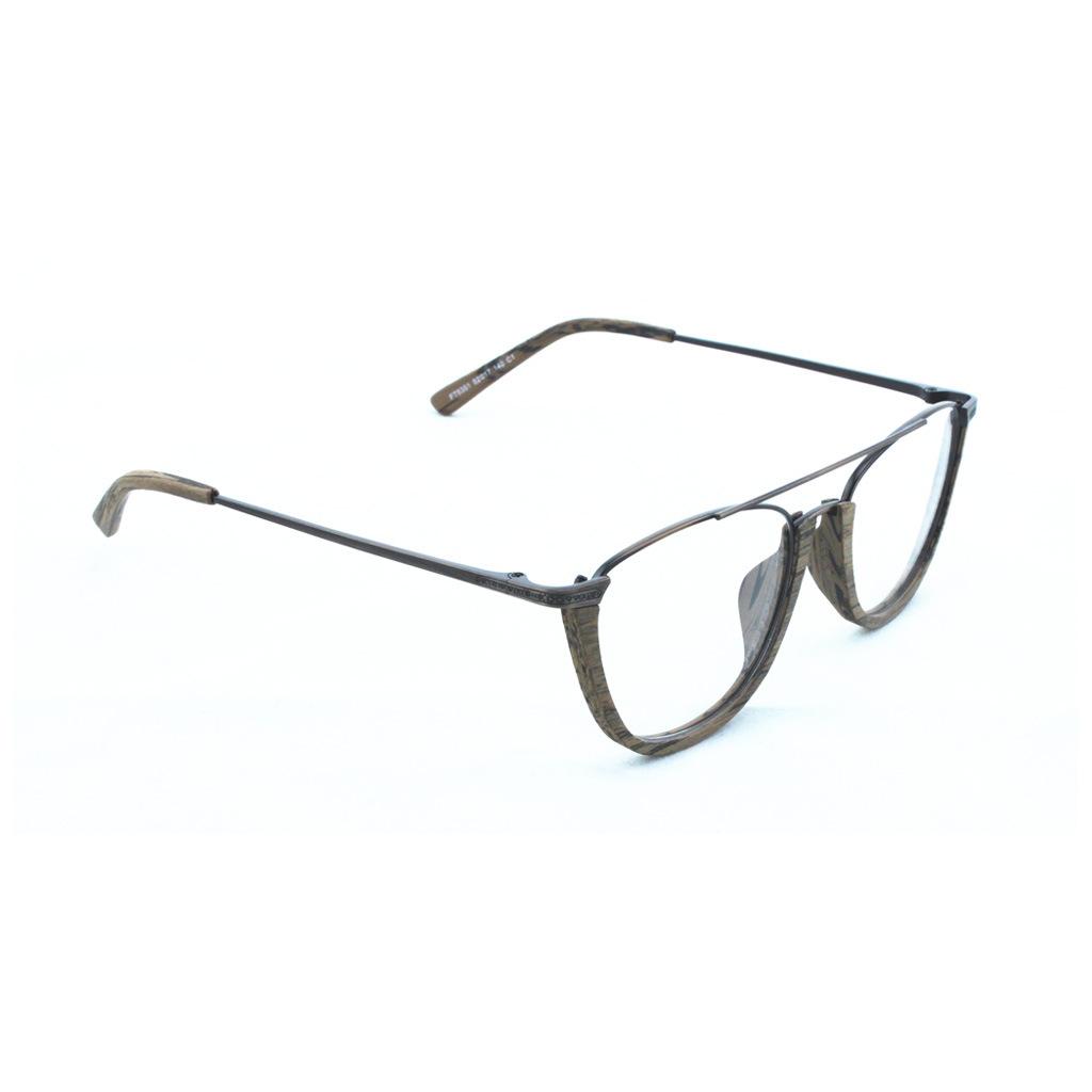 个性双梁木纹眼镜框复古金属腿半框眉毛镜架手工板材制作框架眼镜