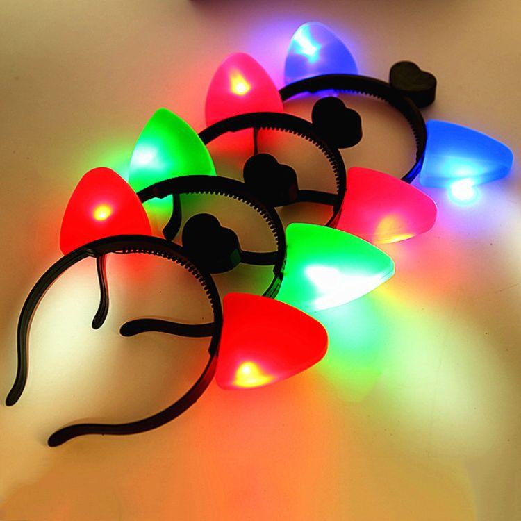 厂家猫耳朵发箍发光头箍led发夹猫耳朵头饰儿童发光玩具地摊热卖