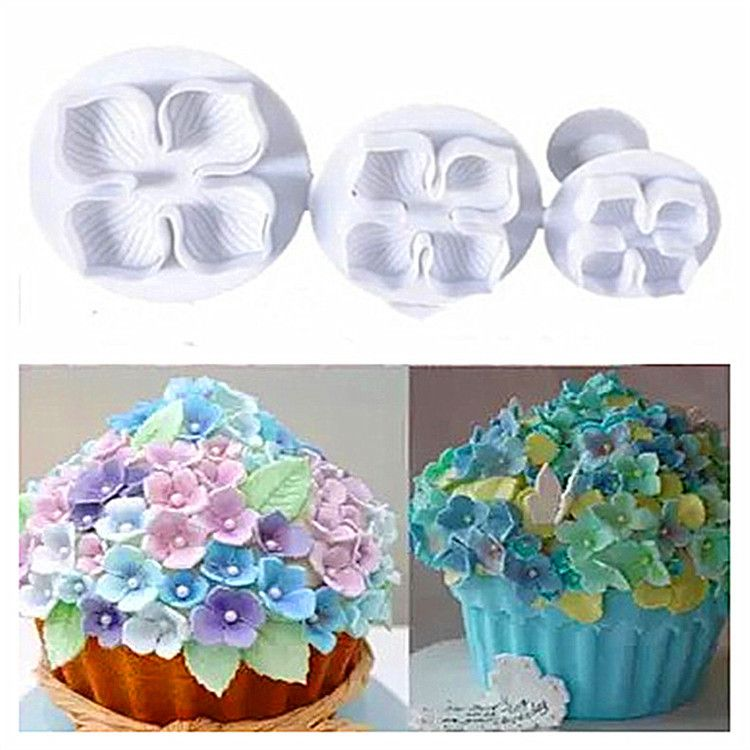 烘培工具 3PCS 绣球花弹簧压花模具饼干模 翻糖蛋糕装饰印花模具