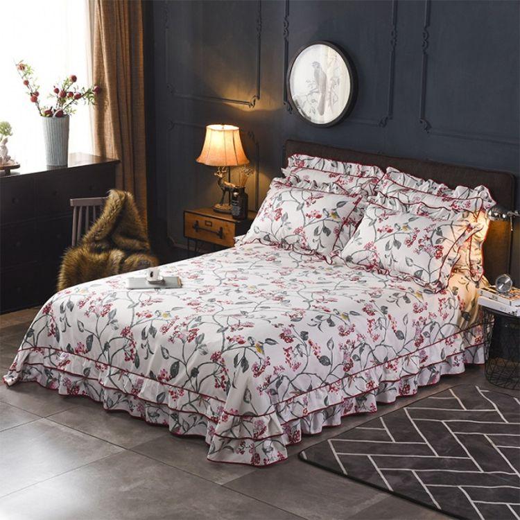 韩版双边床裙单品床单可配四件套单件学生床单被单高支高密床罩