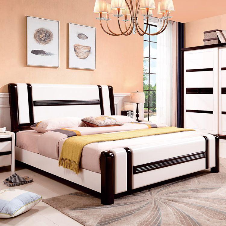 实木双人床美式床白色床1.8简约现代1.5米双人床特价