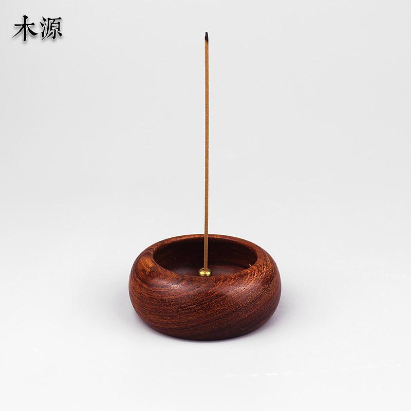 木源红木线香炉花梨木圆形迷你小香炉沉香檀香线香炉香道香具香插