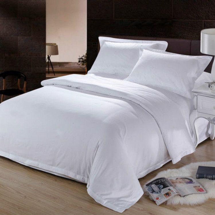 80支纯棉贡缎四件套民宿主题酒店布草五星级宾馆床上用品套件白色