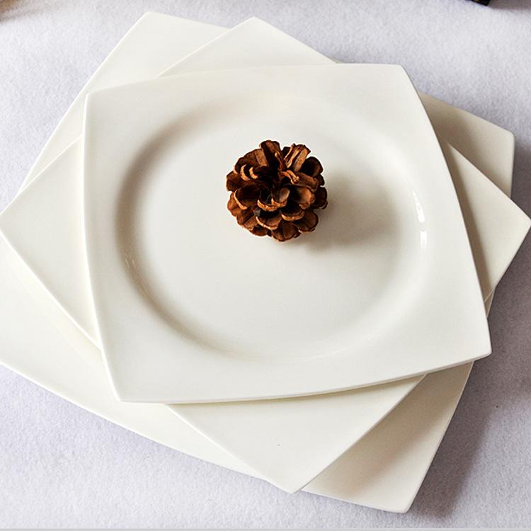 骨瓷方盘 骨瓷盘子 酒店摆台 陶瓷碗盘碟 天缘系列8寸9寸10.5方盘