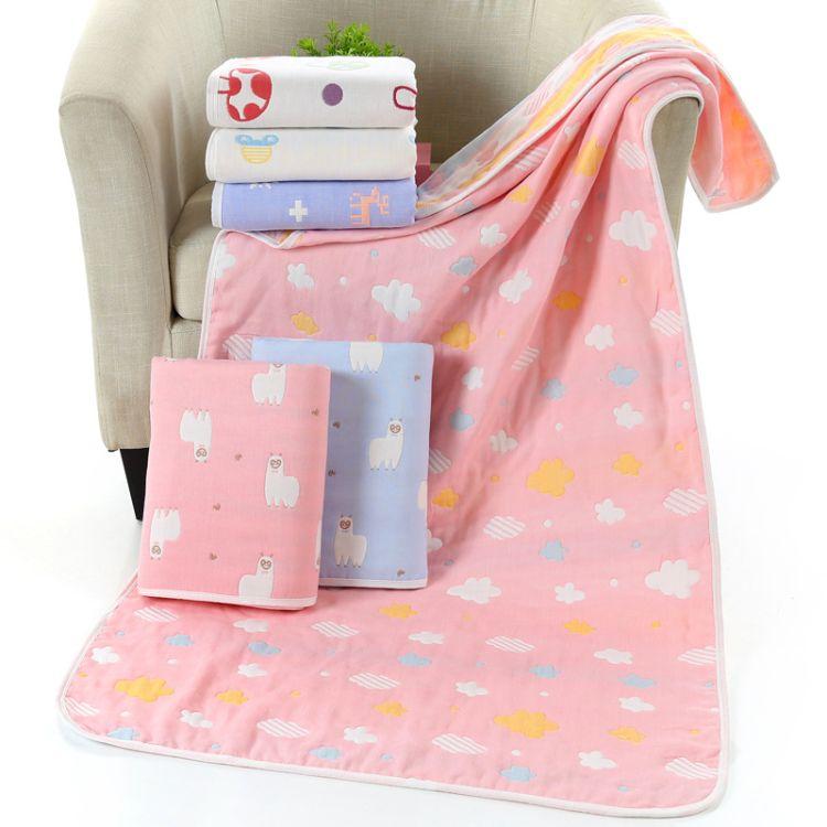 高阳厂家直销 70*140六层纯棉纱布婴幼儿抱毯童被成人浴巾毛巾被