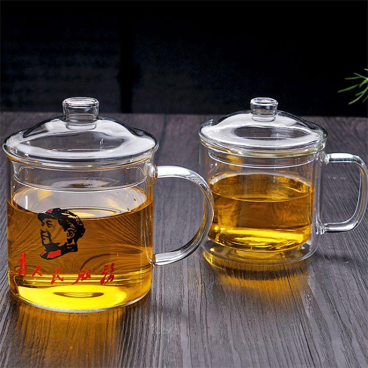 玻璃茶杯加厚高硼硅耐热  大容量玻璃茶杯 带盖玻璃茶杯厂家批发