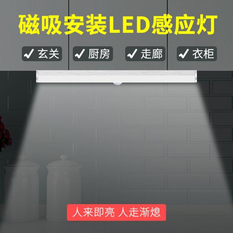 亚马逊爆款USB充电红外人体led感应灯衣柜橱柜楼道节能灯柜下灯