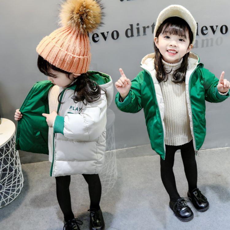 儿童棉衣2018冬季新品韩版女童棉衣时尚双面穿宝宝棉服