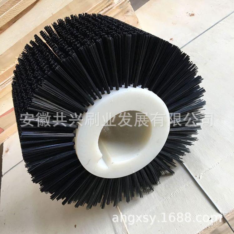 毛刷辊 黑色尼龙丝滚筒刷 清洗刷辊工业刷辊玻璃清洗刷厂家定做
